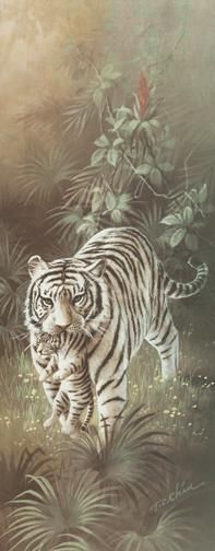 White Tigers poster print by Tc Chiu