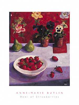 Bowl of Strawberries poster print by Anne-Marie Butlin
