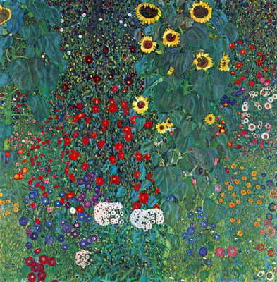 Garden with Crucifix 2 art poster print by Gustav Klimt