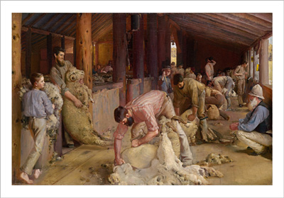Shearing the Rams 1890 poster print by Tom Roberts