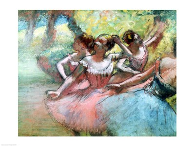 Four ballerinas on the stage poster print by Edgar Degas
