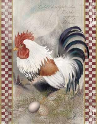 Coat Of Many Colors Rooster poster print by Alma Lee