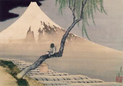 Boy On Mt Fuji poster print by KatsushikaHokusai