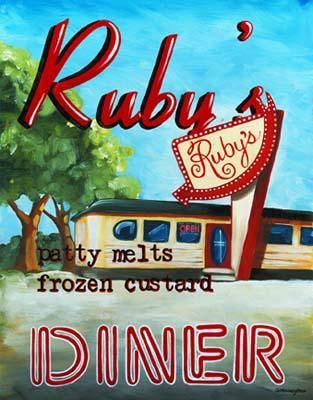 Ruby's Diner poster print by Catherine Jones