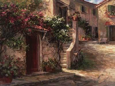 Magliano Courtyard poster print by Art Fronckowiak