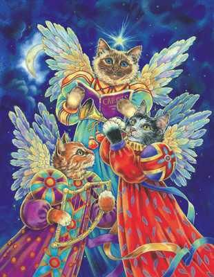 Felines Heralding Christmas Joy poster print by Donna Race