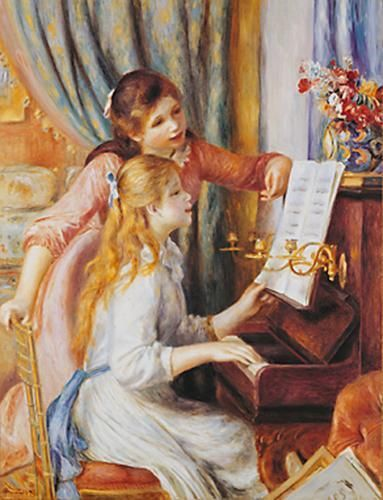 Girls At the Piano poster print by Pierre-Auguste Renoir