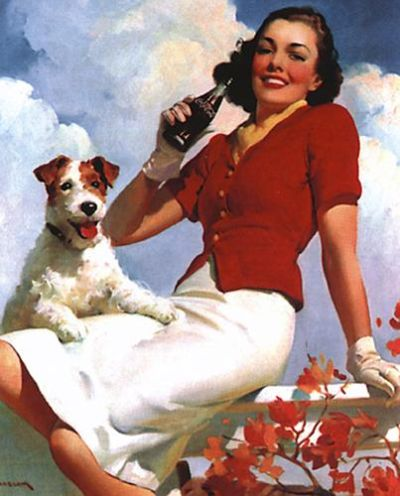 Coca-Cola Lady with Dog poster print by  Vintage Advertising