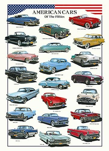 American Cars of the Fifties poster print by  Unknown