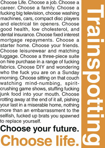 Trainspotting Quotes poster print by  Unknown