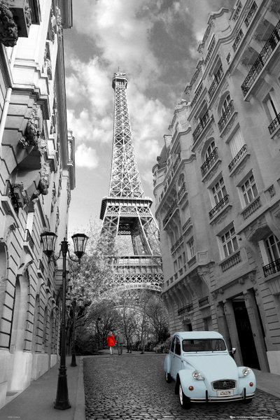 Paris Red Girl Blue Car poster print by  Unknown