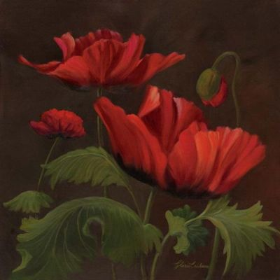 Vibrant Red Poppies II poster print by Gloria Eriksen