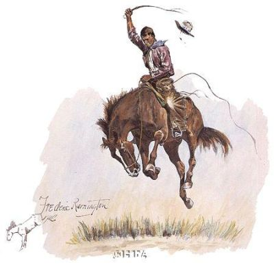 Running Bucker poster print by Frederic Remington