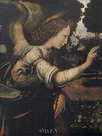 Angel (Detail From The Annunciation) poster print by Leonardo da Vinci