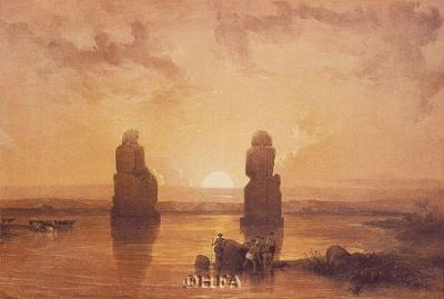Statues Of Memnon At Thebes poster print by David Roberts