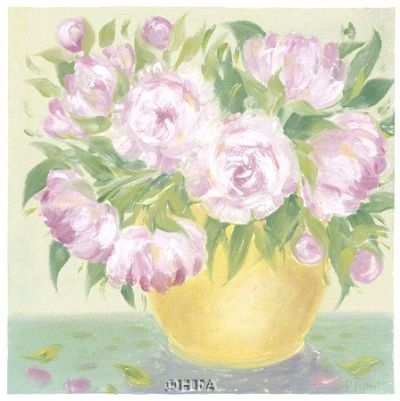 Yellow Vase Peonies I poster print by Patricia Roberts