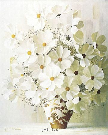 White Bouquet poster print by  Rouviere