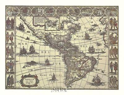 Map Of North And South America poster print by Joan Blaeu