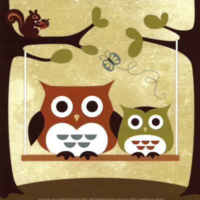 Two Owls on Swing poster print by Nancy Lee