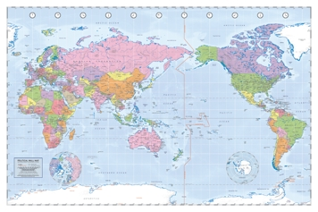 World Map Australia Centralised Art Prints Posters