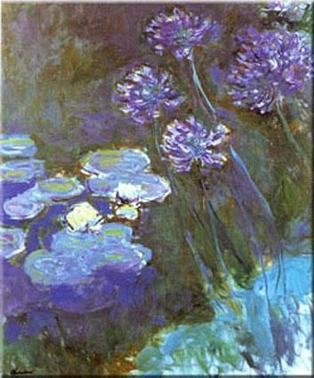 Waterlilies and Agapanthus poster print by Claude Monet