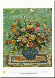 Flowers in a Blue Vase poster print by Maurice Brazil Prendergast