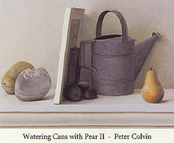 Watering Cans with Pear I poster print by Peter Colvin