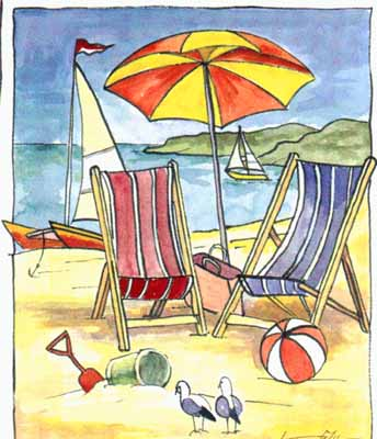 Deck Chair Beach Scene II poster print by Les Miles