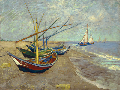 Boats at Saint-Maries, 1888 poster print by Vincent van Gogh