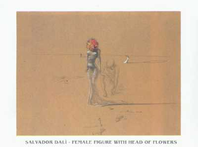 Women with Flower Head poster print by Salvador Dali
