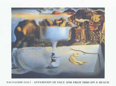 Apparition of Face and Fruit Dish poster print by Salvador Dali