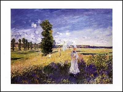 Outing poster print by Claude Monet