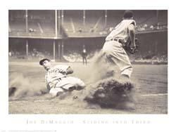 Joe Dimaggio Sliding Into Third poster print by  Bettmann-Corbis