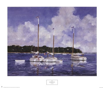 Moored Cat Boats poster print by Ray Ellis