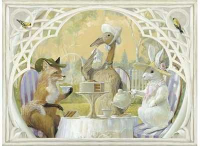 Rabbit's Tea Party poster print by  Bunn