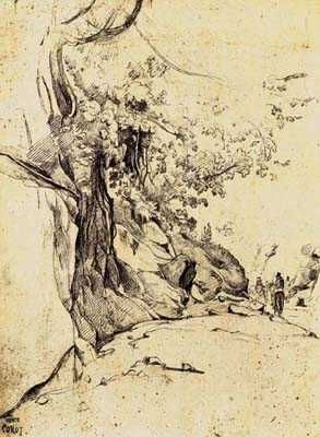 Sepia Tree Study poster print by Jean-Baptiste CCorot