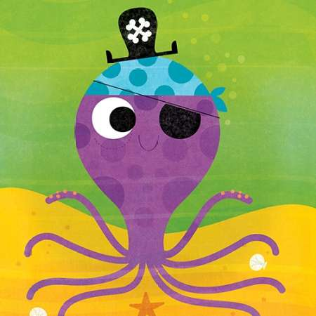 Pirate Octopus poster print by Steve Mack