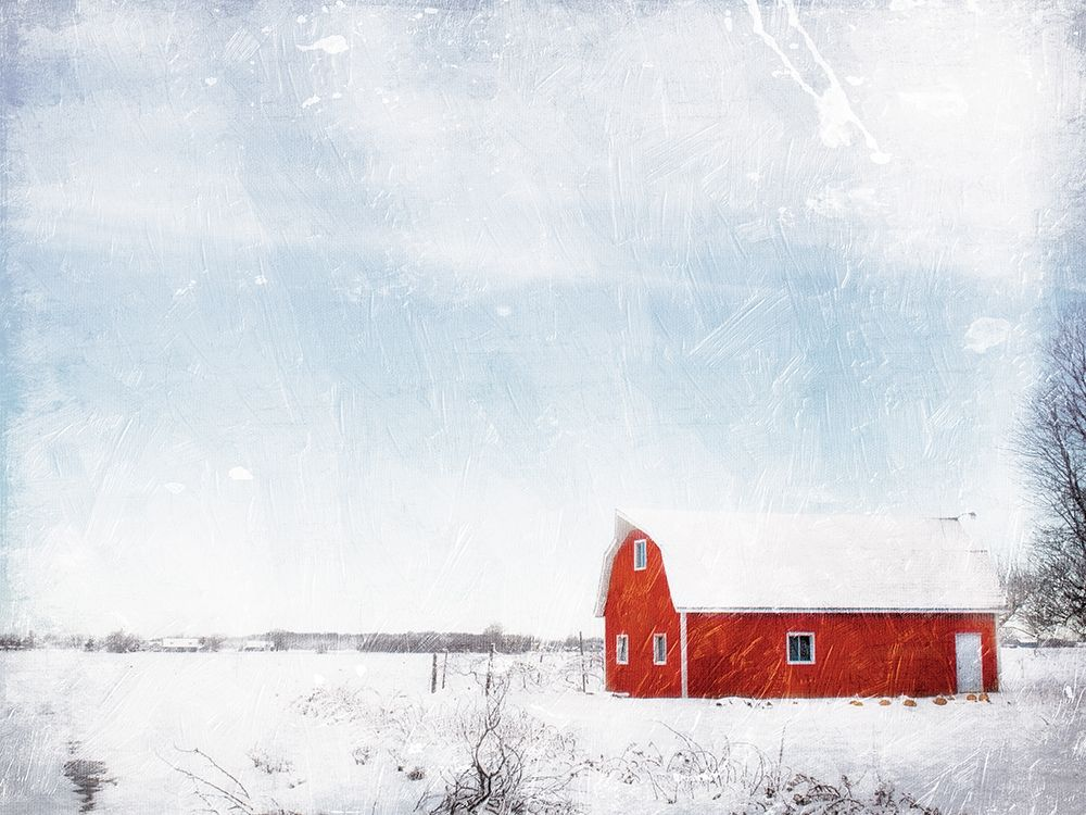 Barn In The Snow poster print by Mlli Villa