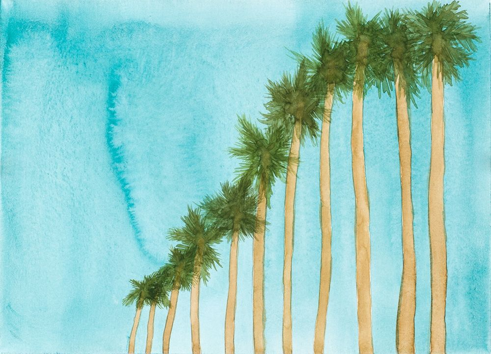 Blue Skies and Palm Trees poster print by Amaya Bucheli