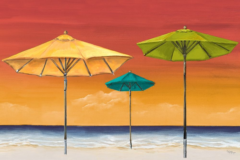 Tropical Umbrellas I poster print by Tiffany Hakimipour