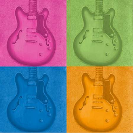 Colorful Guitar Pack poster print by Tiffany Hakimipour