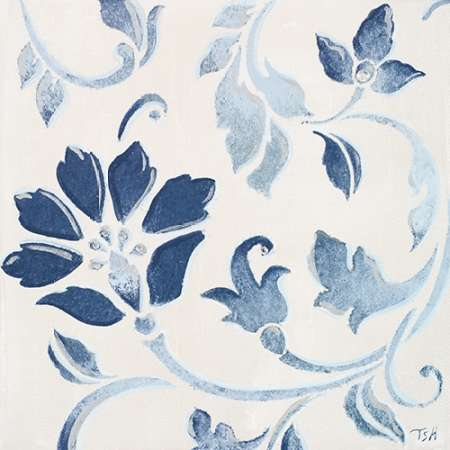 Blue Floral Shimmer I poster print by Tiffany Hakimipour
