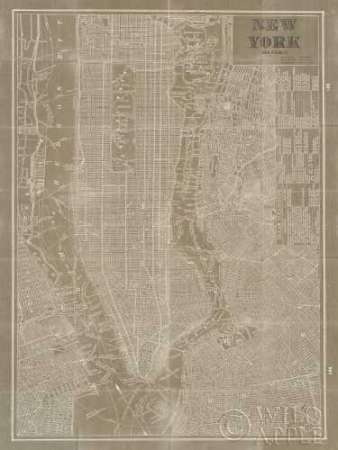 Blueprint Map New York Taupe poster print by Sue Schlabach