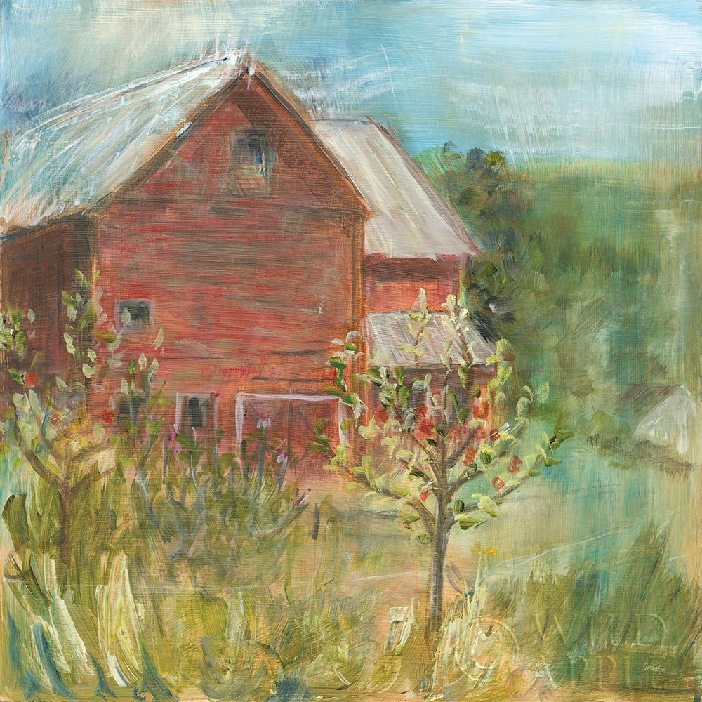 Barn Orchard poster print by Sue Schlabach