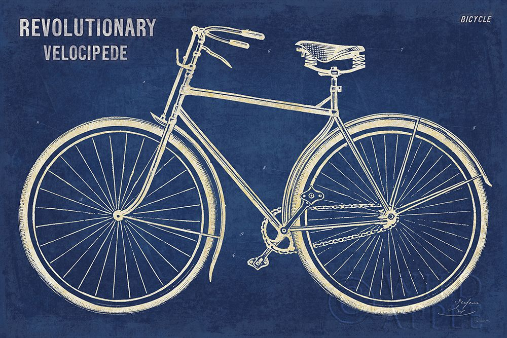 Blueprint Bicycle poster print by Sue Schlabach