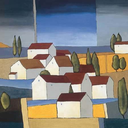 Village near the sea I poster print by Hans Paus