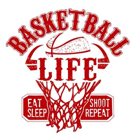 Basketball Life Red poster print by  Longfellow Designs
