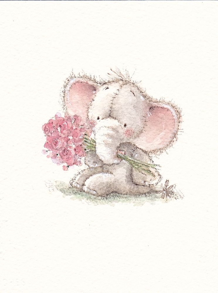 Baby Elephant with Flowers poster print by  P.S. Art
