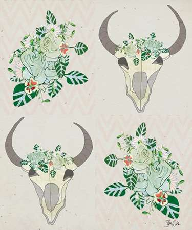 Animal Skull Botanicals Pattern poster print by Shanni Welsh
