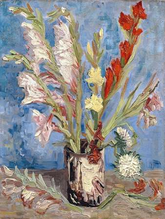 Vase with Gladioli and China Asters poster print by Vincent van Gogh